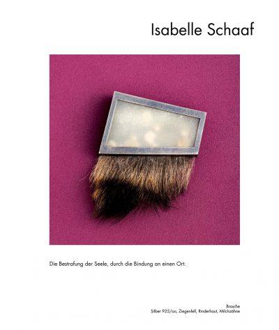 "<div class=""col-md-6"">Brosche</div><div class=""col-md-6"">Silber, Ziegenfell, Rinderhaut, Milchzähne <br>Isabelle Schaaf</div>"