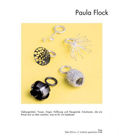 "<div class=""col-md-6"">Ringe</div><div class=""col-md-6"">Silber, z.T. rhodiniert, geschwärzt, Wolle<br>Paula Flock</div>"